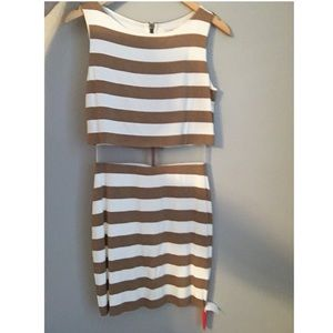Cream and tan striped dress